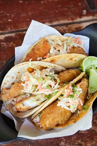 Air Fried Spicy Fish Street Tacos with Sriracha Slaw