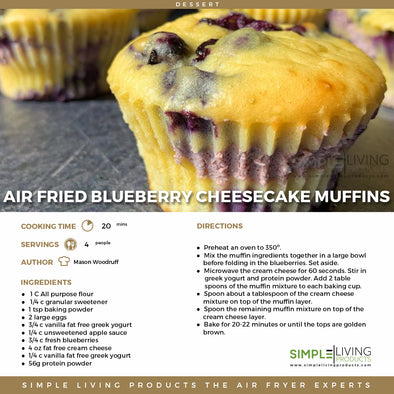 Air Fried Blueberry Cheesecake Muffins