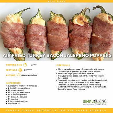 Air Fried Turkey Bacon Jalepeno Poppers
