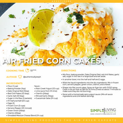 Air Fried Corn Cakes With Spicy Yogurt Sauce