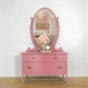 Handpainted Princess Chest, Refinished Antique Furniture, Large Mirror, 3 Drawer