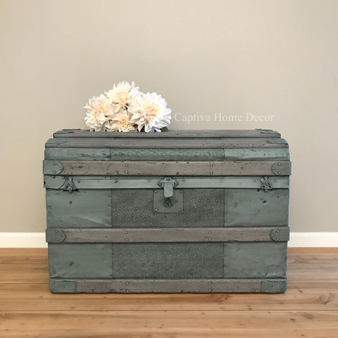 Refinished Antique Trunk, Metal Chest Makeover