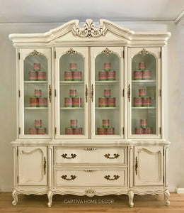 Antique White Large China Cabinet, Refinished, Handpainted General Finishes Milk Paint