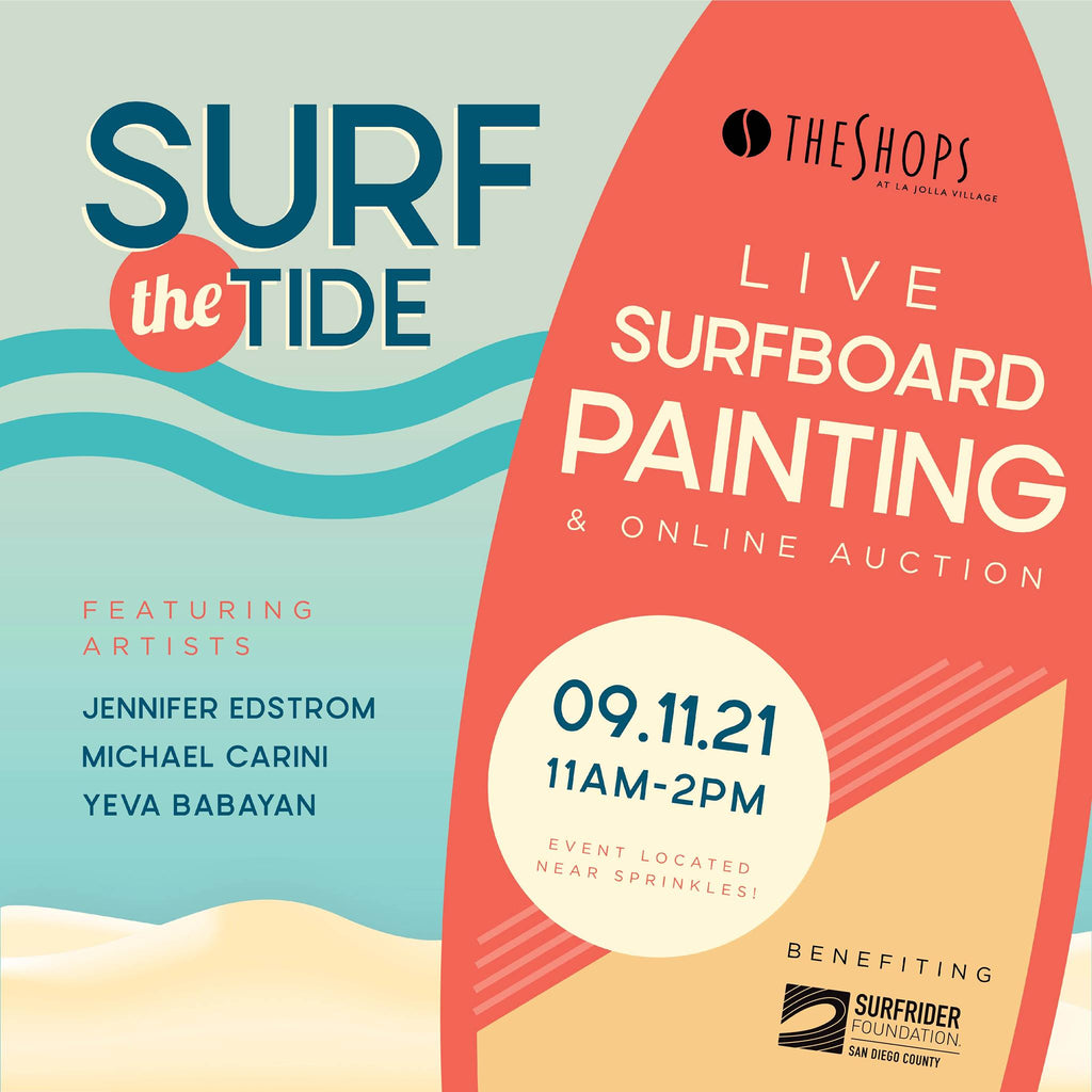 Michael Carini live painting a surfboard at The Shops At La Jolla Village to benefit the Surfrider Foundation and Surfrider San Diego