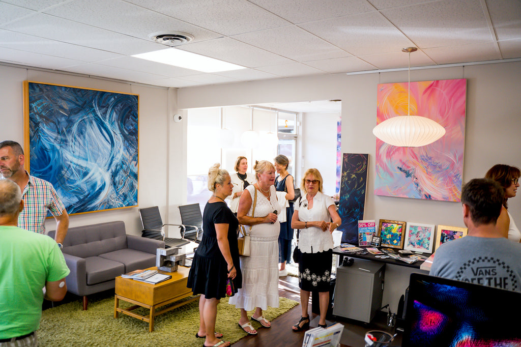 Michael Carini art opening reception at Woods Real Estate Services in Mission Hills