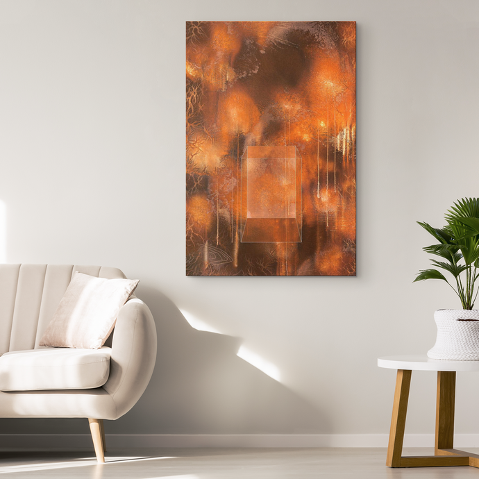 copper abstract canvas art