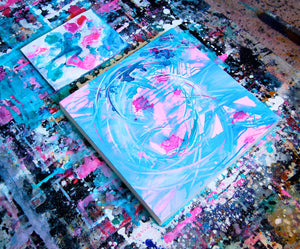 pink and teal art and decor
