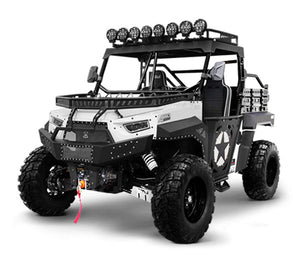 White Black 2 Seater utility utv side by side. BMS the Beast 1000 2S.