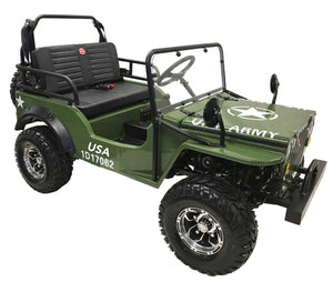 COOLSTER GK-6125A go-kart 125cc Willy WWII Army Jeep GREEN