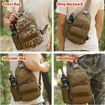 Tactical Shoulder Bag Military Chest Sling Pack with USB Charging Port and Bottle Pocket for Trekking Camping Hiking Travelling