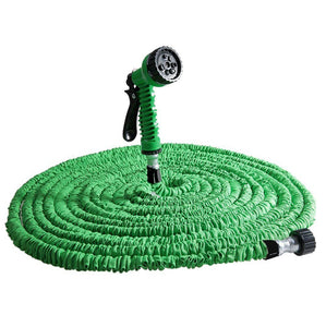 3 Times Expandable Garden Hose - Extra Strong Stretch Material with Brass Connectors - Bonus 7 Way Spray Nozzle Included