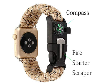 For iWatch Apple Watch Series 38MM 42MM Bracelet,NEW Nylon Rope Survival Bracelet with Compass