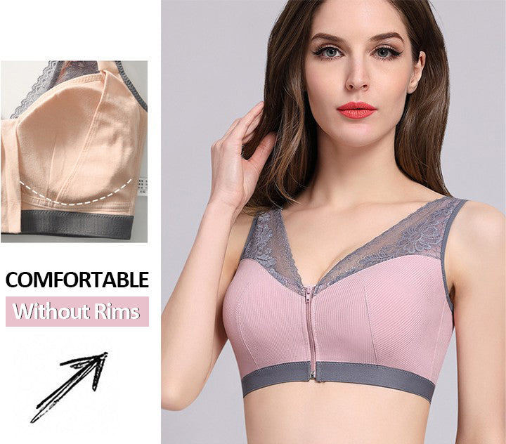Womens Two-tone No Underwire Push Up Breathable Bra Wire-free Lace Sleeping Bra