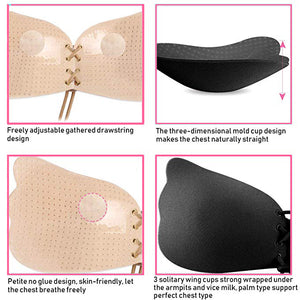 Wings Front Tied Adhesive Strapless Bra