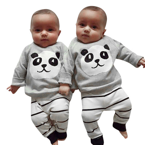 Newborn Panda Top with Stripe Pants