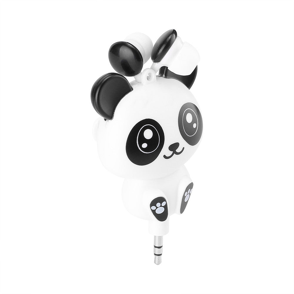 Cartoon Panda Retractable Retractable Earbuds
