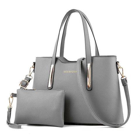 2Pcs Leather Shoulder Handbags + Tote
