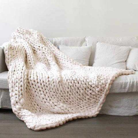 100*120cm Hand Chunky Knitted Blanket Thick Wool Bulky Knitting Throw