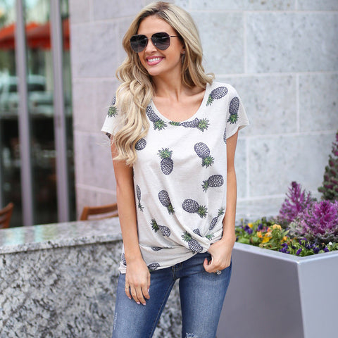 Short Sleeve O Neck Pineapple Top
