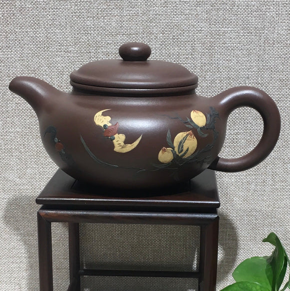 "purple clay teapot by master 曹兰芳 紫泥""福寿仿古"""
