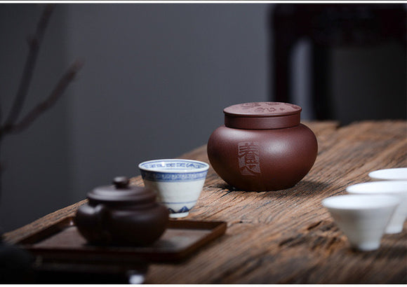zisha tea container - Old Village Puer 老寨古茶