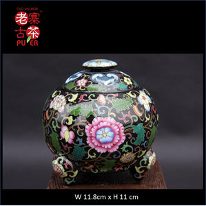 Porcelain Incense Burner from Jing De Zhen Kangxi Famille Rose 景德镇 宝瓷林 黑地珐琅彩 香炉 - Old Village Puer 老寨古茶