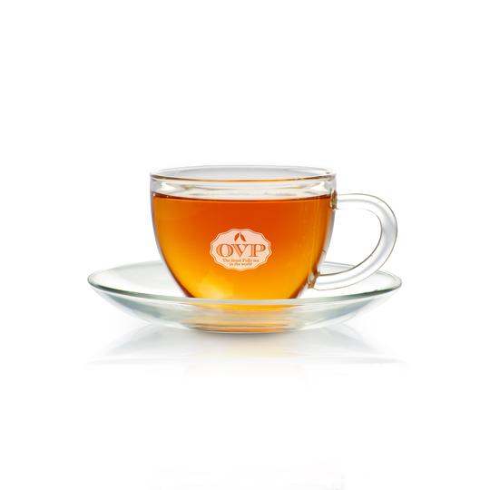 OVP Borosilicate Glass Teacup with Saucer - Old Village Puer 老寨古茶