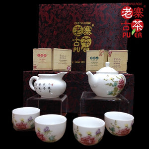 Porcelain Tea set of 6s from Jing De Zhen 景德镇 六件套装 高级礼品茶具 国色天香 - Old Village Puer 老寨古茶