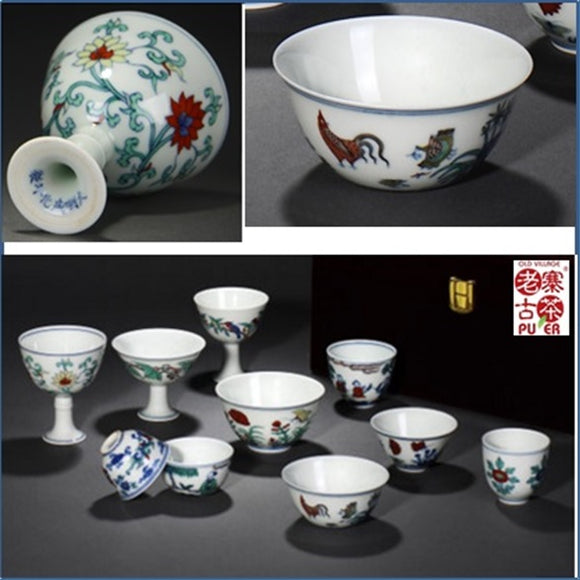 Porcelain Tea tasting cup set of 10s from Jing De Zhen 景德镇 宝瓷林 十全十美 仿古品茗杯
