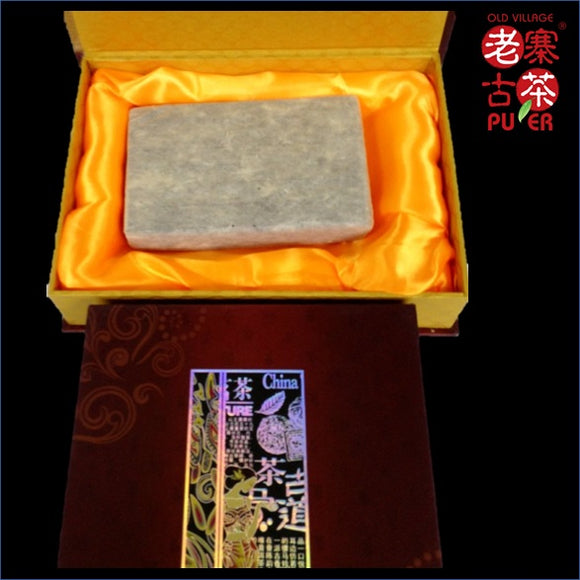 Mt. Jingmai Raw PuEr tea brick, golden leaf, 1983 Spring 景迈山 普洱生茶 老寨古茶