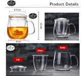 OVP Borosilicate Glass Cup with Filter and Lid - Old Village Puer 老寨古茶
