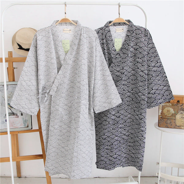 Cotton Double Gauze Robe Men's Bathrobe Pajamas Thin Long Casual Sleepwear