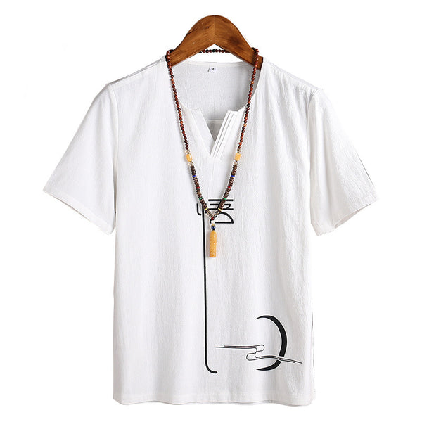 Chinese Style Men's Cotton Casual T-Shirt Half Sleeve Bottoming Tops