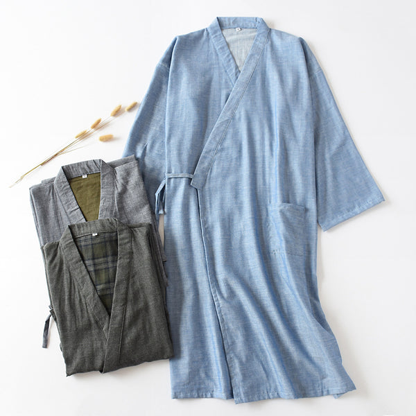 Men's Woven Cotton Double Gauze Robe Breathable Bathrobe Home Bath Steaming Clothes