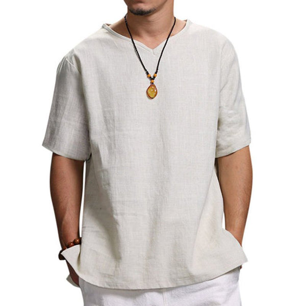 Men's Casual V-neck T-Shirts Summer Solid Color Short Sleeves Tops