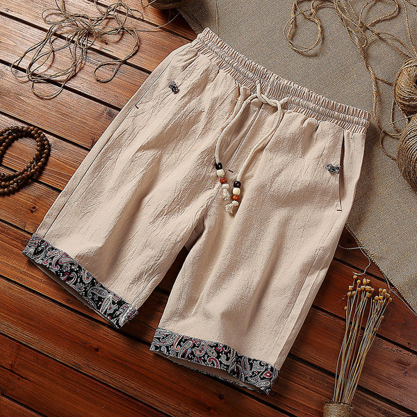 Men's Cotton Linen Loose Shorts Fashion Lace Color Matching Beach Shorts