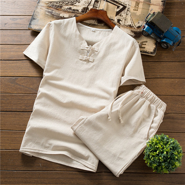 Men's Casual Solid Color Short-sleeved T-shirts + Shorts Outdoor Sports Two Sets