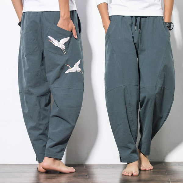 National Style Embroidery Pattern Wide-leg Pants Large Size Men's Loose Casual Pants