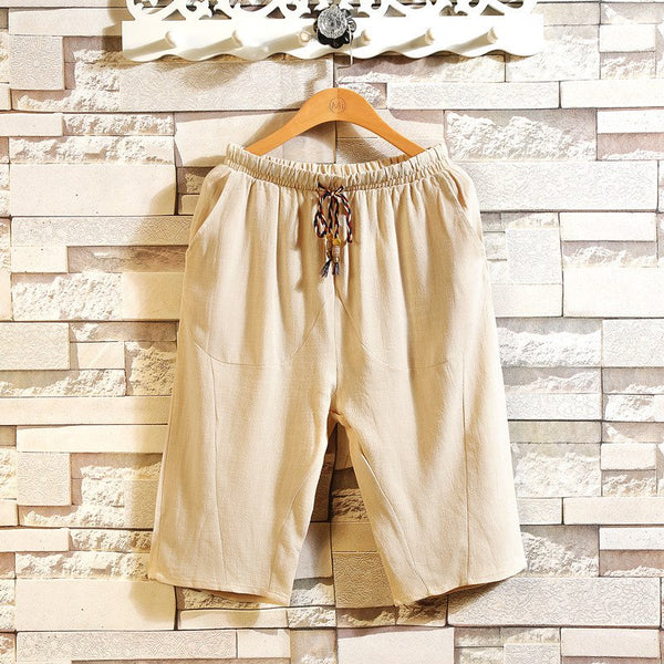 Men's Casual Loose Cropped Trousers Breathable Cotton Linen Shorts