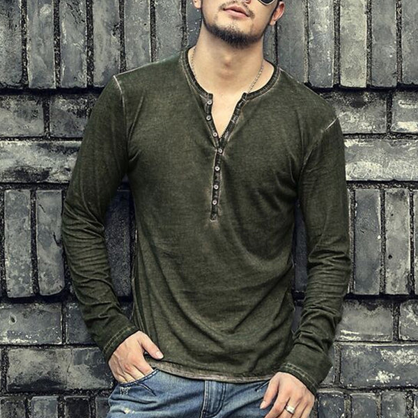 Men's Casual V-neck Open Long Sleeve T-shirt