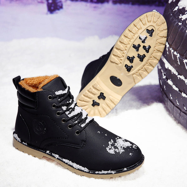 Lace-up Low Heel Winter Faux Fur Split Joint Mid-Calf Round Toe Low Heel Martin Boot