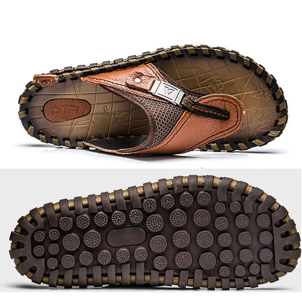 Men Plus Size Cowhide Leather Flip-flops Slippers