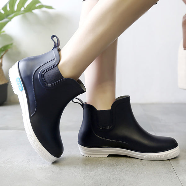 Men Plastic Elastic Band Rain Boots