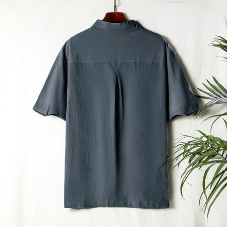Chinese Style Retro Shirts Men's Short-sleeved Stand Collar Hand-button Cotton Shirt