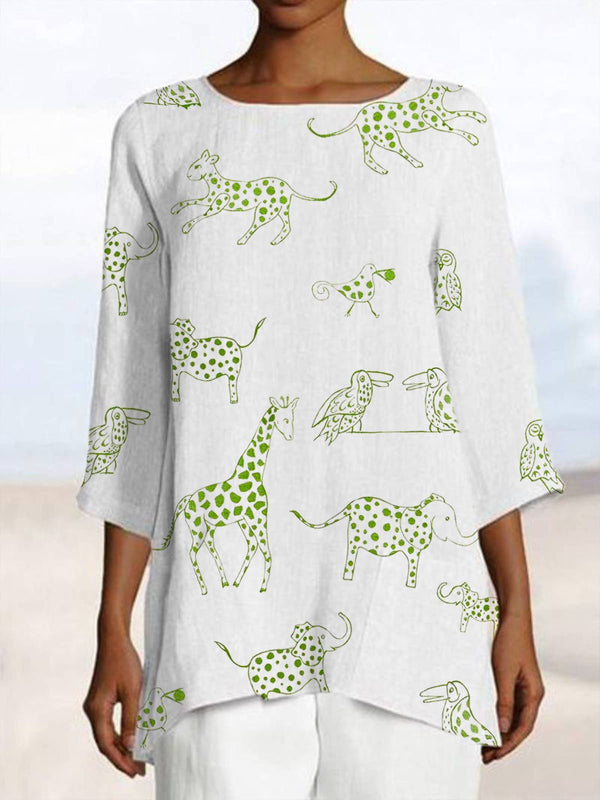 Casual Animal Crew Neck Cotton Shirts & Tops