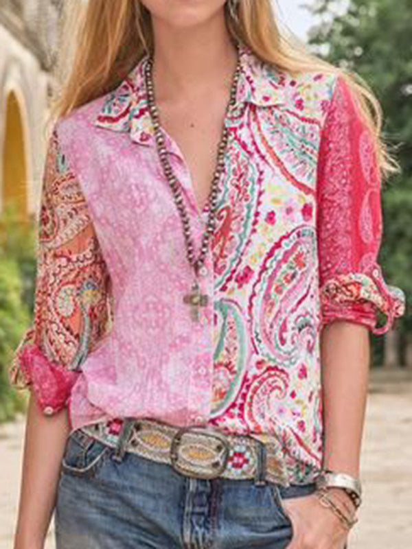 Pink Long Sleeve Floral Shirt Collar Cotton Shirts & Tops