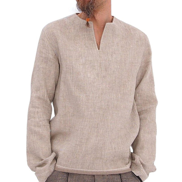 Casual Linen Cotton Solid T-shirts Men's V-Neck Long Sleeve T-shirts