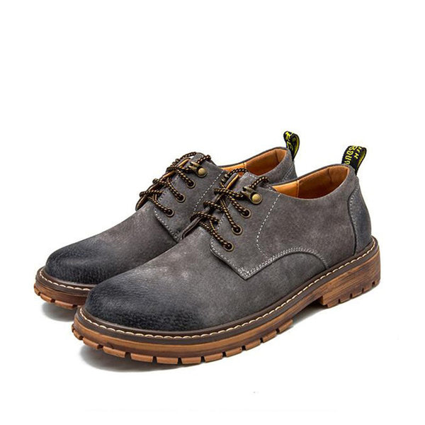 Men Pigskin Leather Metal Buckle Lace Up Casual Work Shoes