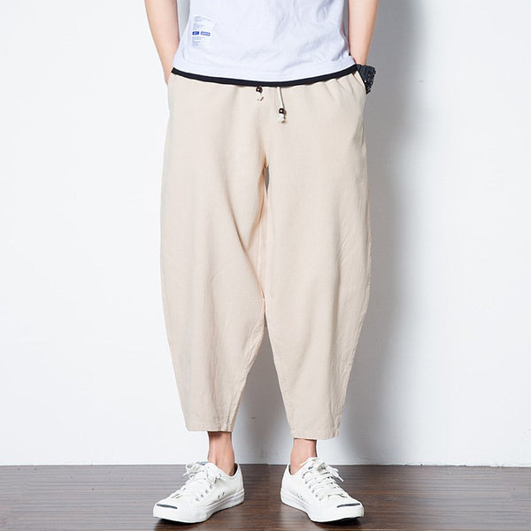 Men's Ethnic Style Retro Loose Cotton Linen Nine Pants