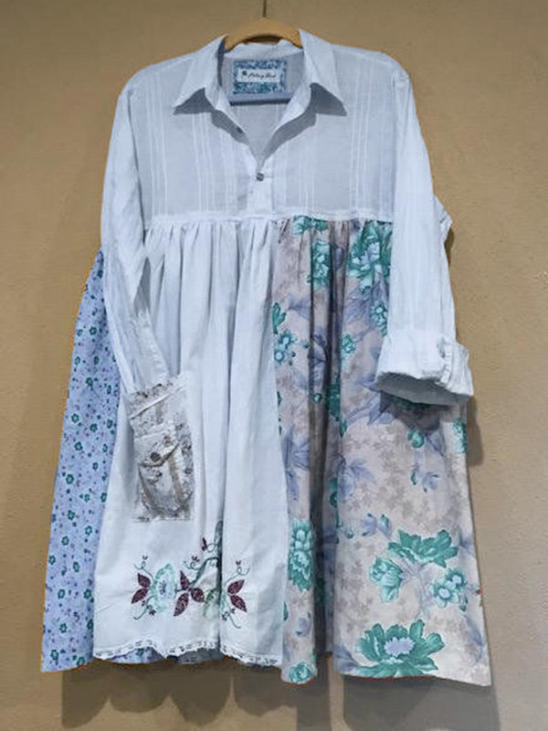 Shirt Collar White Women Dresses Shift Daily Boho Floral Dresses